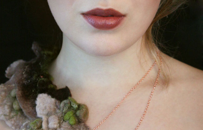 Lichen Felted Shibori Necklace by TrendeFemme