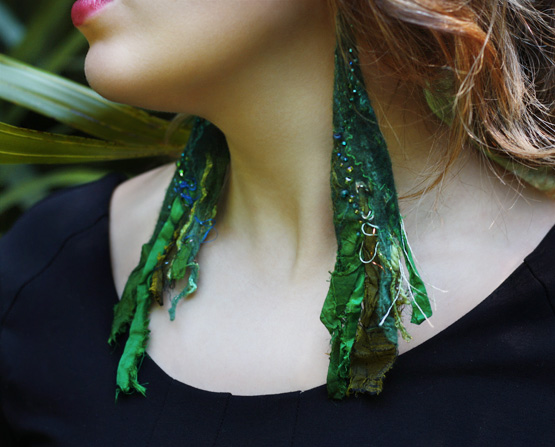 Recycled Sari Silk Earrings, Emerald, by TrendeFemme